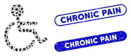 Mosaic handicapped and grunge stamp seals with Chronic Pain phrase. Mosaic vector handicapped is formed with randomized oval elements. Chronic Pain stamp seals use blue color,