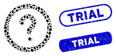 Mosaic question and rubber stamp seals with Trial text. Mosaic vector question is created with random elliptic dots. Trial stamp seals use blue color, and have round rectangle shape.