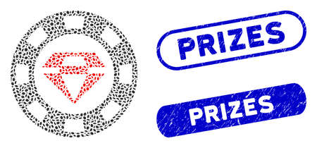 Mosaic ruby casino chip and distressed stamp seals with Prizes text. Mosaic vector ruby casino chip is formed with random elliptic pieces. Prizes stamp seals use blue color,