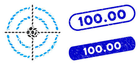 Mosaic target and corroded stamp seals with 100.00 phrase. Mosaic vector target is designed with random elliptic pieces. 100.00 stamp seals use blue color, and have round rectangle shape.