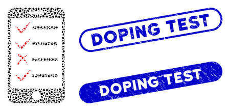 Mosaic mobile tasks and grunge stamp seals with Doping Test caption. Mosaic vector mobile tasks is formed with scattered oval pieces. Doping Test stamp seals use blue color,