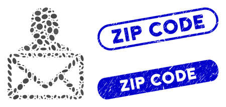 Mosaic mail recipient and grunge stamp seals with Zip Code caption. Mosaic vector mail recipient is composed with randomized oval spots. Zip Code stamp seals use blue color,