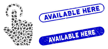 Mosaic tap gesture and rubber stamp watermarks with Available Here phrase. Mosaic vector tap gesture is formed with random ellipse elements. Available Here stamp seals use blue color, 일러스트