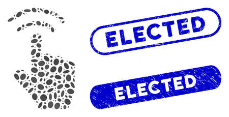 Mosaic finger click and grunge stamp watermarks with Elected caption. Mosaic vector finger click is created with randomized oval dots. Elected stamp seals use blue color, Illusztráció