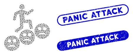 Mosaic man steps sad smiles and corroded stamp seals with Panic Attack caption. Mosaic vector man steps sad smiles is composed with scattered oval parts. Panic Attack seals use blue color, 일러스트