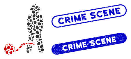 Collage guilty man and corroded stamp seals with Crime Scene phrase. Mosaic vector guilty man is designed with randomized elliptic spots. Crime Scene stamp seals use blue color,