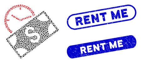 Mosaic rent recurring payment and grunge stamp watermarks with Rent Me caption. Mosaic vector rent recurring payment is formed with random oval dots. Rent Me stamp seals use blue color, Illusztráció