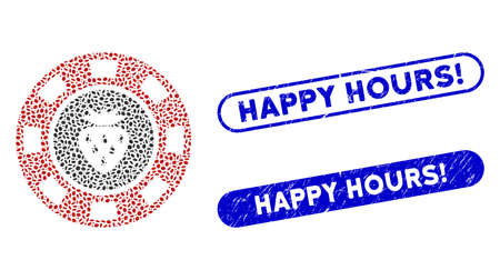 Mosaic strawberry casino chip and grunge stamp seals with Happy Hours! caption. Mosaic vector strawberry casino chip is created with random ellipse pieces. Happy Hours! stamp seals use blue color,