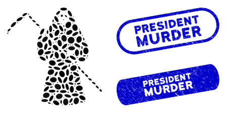 Mosaic scytheman and rubber stamp seals with President Murder text. Mosaic vector scytheman is composed with random oval spots. President Murder stamp seals use blue color,