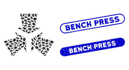 Mosaic shrink arrows and corroded stamp seals with Bench Press phrase. Mosaic vector shrink arrows is formed with randomized ellipse dots. Bench Press seals use blue color,