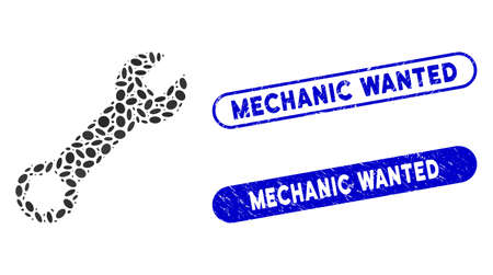 Mosaic wrench and rubber stamp seals with Mechanic Wanted phrase. Mosaic vector wrench is formed with randomized oval parts. Mechanic Wanted seals use blue color, and have round rectangle shape. Ilustrace