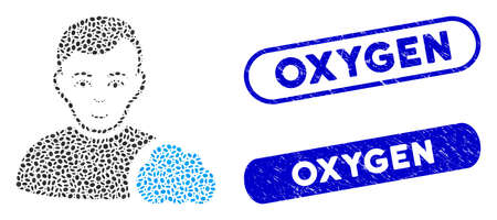 Mosaic user cloud and distressed stamp watermarks with Oxygen phrase. Mosaic vector user cloud is designed with randomized oval dots. Oxygen stamp seals use blue color, and have round rectangle shape. Ilustração