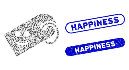 Mosaic smile tag and corroded stamp seals with Happiness caption. Mosaic vector smile tag is composed with randomized ellipse elements. Happiness stamp seals use blue color,