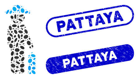 Mosaic gentleman baggage and corroded stamp seals with Pattaya text. Mosaic vector gentleman baggage is created with random elliptic parts. Pattaya stamp seals use blue color,