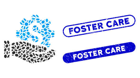 Mosaic payment service hand and rubber stamp seals with Foster Care caption. Mosaic vector payment service hand is created with randomized elliptic pieces. Foster Care stamp seals use blue color, 向量圖像