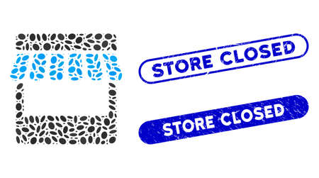 Mosaic store and corroded stamp watermarks with Store Closed caption. Mosaic vector store is composed with scattered oval pieces. Store Closed stamp seals use blue color,  イラスト・ベクター素材