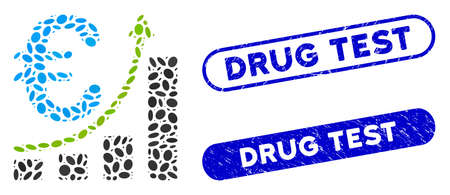 Mosaic euro sales growth and rubber stamp seals with Drug Test phrase. Mosaic vector euro sales growth is created with randomized oval elements. Drug Test seals use blue color,