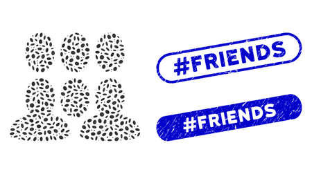 Collage crowd and grunge stamp seals with #Friends caption. Mosaic vector crowd is formed with random ellipse parts. #Friends stamp seals use blue color, and have round rectangle shape.