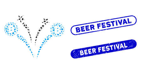 Mosaic Bitcoin fireworks and distressed stamp seals with Beer Festival text. Mosaic vector Bitcoin fireworks is formed with scattered ellipse pieces. Beer Festival stamp seals use blue color,