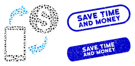 Collage mobile banking and distressed stamp seals with Save Time and Money text. Mosaic vector mobile banking is composed with randomized oval dots. Save Time and Money stamp seals use blue color,