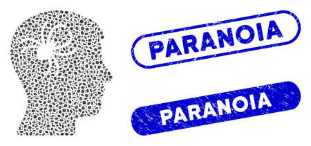 Mosaic mental parasite spider and rubber stamp seals with Paranoia text. Mosaic vector mental parasite spider is formed with random oval parts. Paranoia stamp seals use blue color,