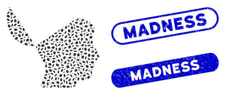 Mosaic open mind and corroded stamp watermarks with Madness caption. Mosaic vector open mind is created with random oval dots. Madness stamp seals use blue color, and have round rectangle shape.