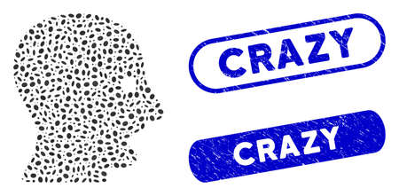 Mosaic shouting head and distressed stamp seals with Crazy caption. Mosaic vector shouting head is composed with randomized oval spots. Crazy seals use blue color, and have round rectangle shape.