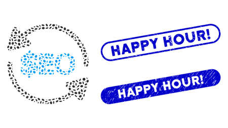 Mosaic refresh seo and distressed stamp seals with Happy Hour! caption. Mosaic vector refresh seo is formed with scattered elliptic items. Happy Hour! stamp seals use blue color,