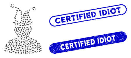 Mosaic fool and corroded stamp seals with Certified Idiot caption. Mosaic vector fool is composed with randomized elliptic parts. Certified Idiot stamp seals use blue color, Illustration