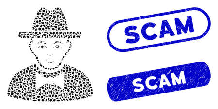 Mosaic spy and grunge stamp seals with Scam caption. Mosaic vector spy is designed with random oval spots. Scam stamp seals use blue color, and have round rectangle shape.