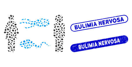 Collage people exchange microbes and distressed stamp seals with Bulimia Nervosa text. Mosaic vector people exchange microbes is designed with randomized oval dots.