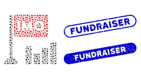 Mosaic IMO bar chart and rubber stamp seals with Fundraiser caption. Mosaic vector IMO bar chart is formed with randomized oval items. Fundraiser stamp seals use blue color, Vettoriali