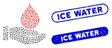Collage blood donation hand and grunge stamp seals with Ice Water caption. Mosaic vector blood donation hand is formed with scattered oval items. Ice Water stamp seals use blue color, Ilustração