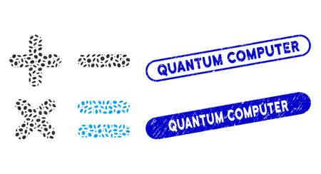 Mosaic calculator and grunge stamp seals with Quantum Computer caption. Mosaic vector calculator is designed with randomized elliptic dots. Quantum Computer stamp seals use blue color,