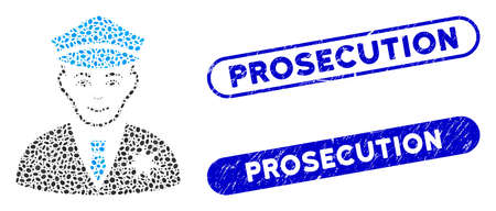 Mosaic sheriff and grunge stamp watermarks with Prosecution phrase. Mosaic vector sheriff is created with random elliptic spots. Prosecution stamp seals use blue color, and have round rectangle shape. Illusztráció