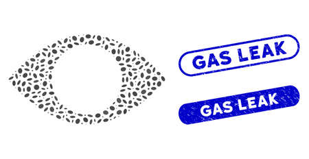 Mosaic blind eye and rubber stamp watermarks with Gas Leak phrase. Mosaic vector blind eye is created with randomized elliptic items. Gas Leak stamp seals use blue color,