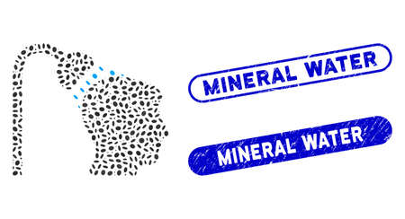 Mosaic head shower and corroded stamp seals with Mineral Water caption. Mosaic vector head shower is created with randomized elliptic parts. Mineral Water stamp seals use blue color,