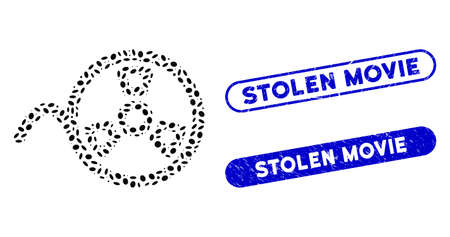 Mosaic tape reel and distressed stamp seals with Stolen Movie phrase. Mosaic vector tape reel is created with scattered oval pieces. Stolen Movie seals use blue color, and have round rectangle shape.