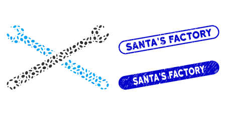 Mosaic wrenches and rubber stamp seals with SantaS Factory text. Mosaic vector wrenches is designed with scattered oval spots. SantaS Factory stamp seals use blue color,