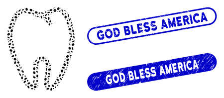 Mosaic tooth and corroded stamp seals with God Bless America text. Mosaic vector tooth is composed with scattered ellipse items. God Bless America stamp seals use blue color,