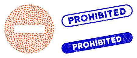 Mosaic forbidden and rubber stamp watermarks with Prohibited caption. Mosaic vector forbidden is formed with random oval pieces. Prohibited stamp seals use blue color, and have round rectangle shape.