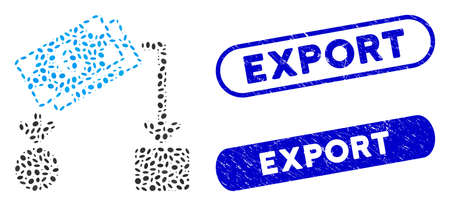 Mosaic Euro cash flow and grunge stamp seals with Export phrase. Mosaic vector Euro cash flow is designed with random ellipse pieces. Export stamp seals use blue color, and have round rectangle shape. Stock Illustratie