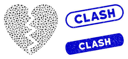 Mosaic broken heart and corroded stamp seals with Clash caption. Mosaic vector broken heart is composed with randomized elliptic dots. Clash stamp seals use blue color, and have round rectangle shape.