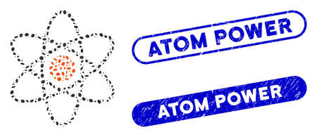 Mosaic atom and rubber stamp seals with Atom Power caption. Mosaic vector atom is composed with random oval dots. Atom Power stamp seals use blue color, and have round rectangle shape.