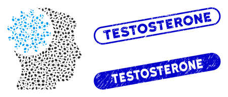 Collage head gear and rubber stamp seals with Testosterone phrase. Mosaic vector head gear is designed with scattered elliptic elements. Testosterone stamp seals use blue color,