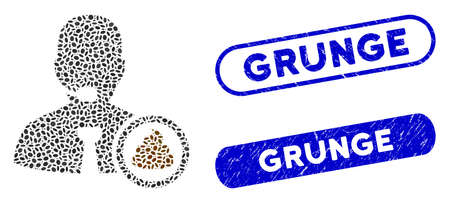 Mosaic shit operator and grunge stamp seals with Grunge caption. Mosaic vector shit operator is designed with random ellipse pieces. Grunge stamp seals use blue color, and have round rectangle shape. Ilustração