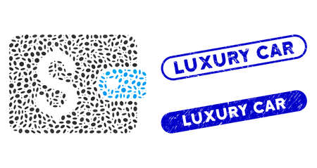 Mosaic purse and distressed stamp seals with Luxury Car text. Mosaic vector purse is formed with random oval pieces. Luxury Car stamp seals use blue color, and have round rectangle shape. Ilustração