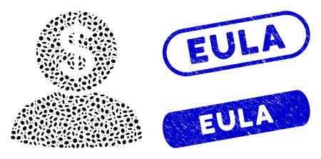 Mosaic banker and corroded stamp seals with Eula phrase. Mosaic vector banker is designed with randomized oval pieces. Eula stamp seals use blue color, and have round rectangle shape.