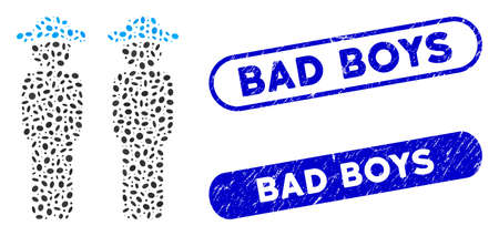 Collage gentlemen and corroded stamp seals with Bad Boys caption. Mosaic vector gentlemen is formed with random ellipse parts. Bad Boys stamp seals use blue color, and have round rectangle shape. Illustration