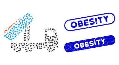 Mosaic unloading tipper and grunge stamp seals with Obesity caption. Mosaic vector unloading tipper is created with scattered oval items. Obesity stamp seals use blue color,